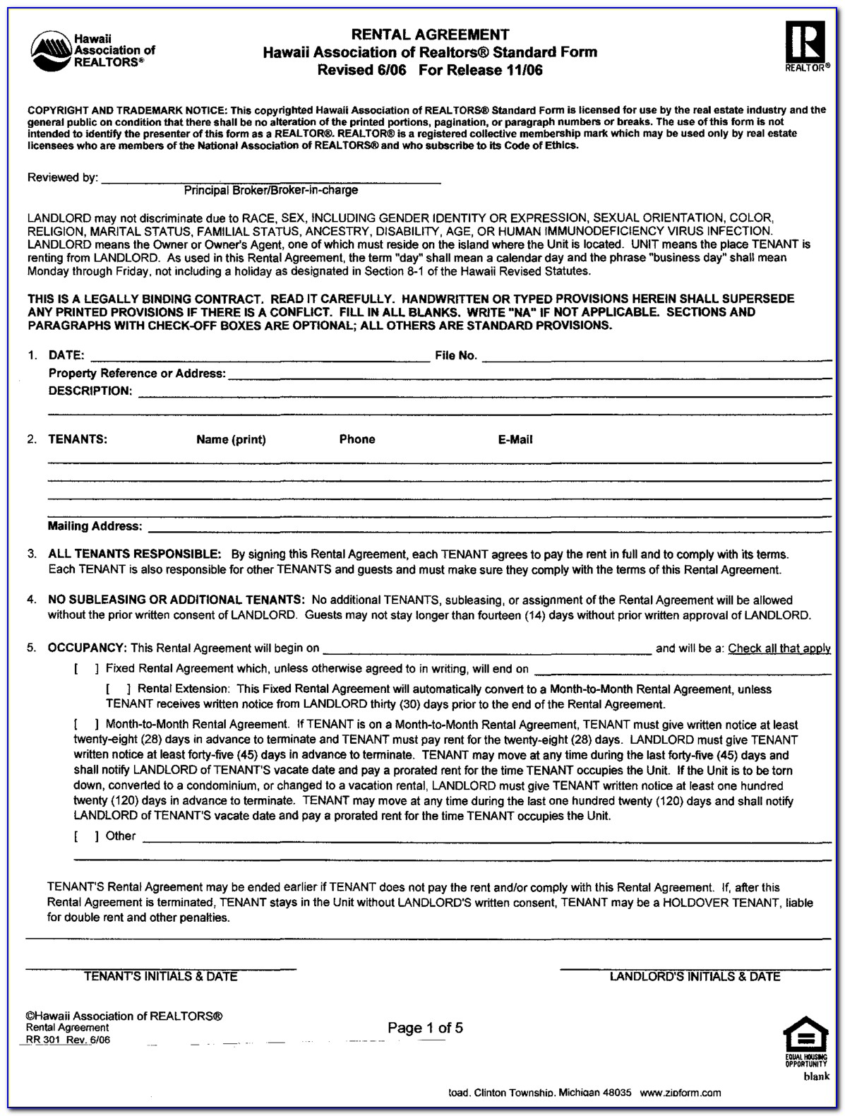 Free Rental Agreement Forms California Month To Month