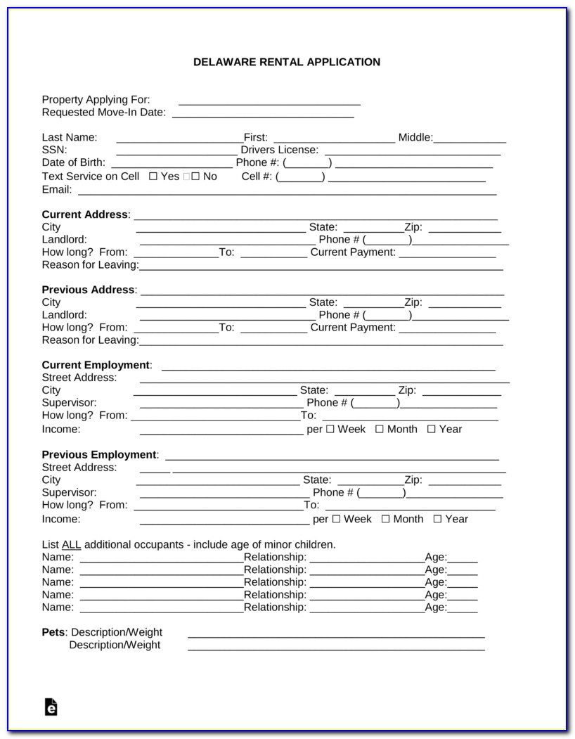Free Rental Application Form Word Doc
