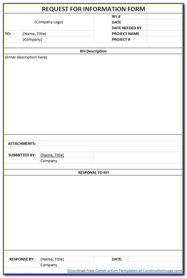 Free Request For Information (rfi) Form Template Regarding Request For Information Template