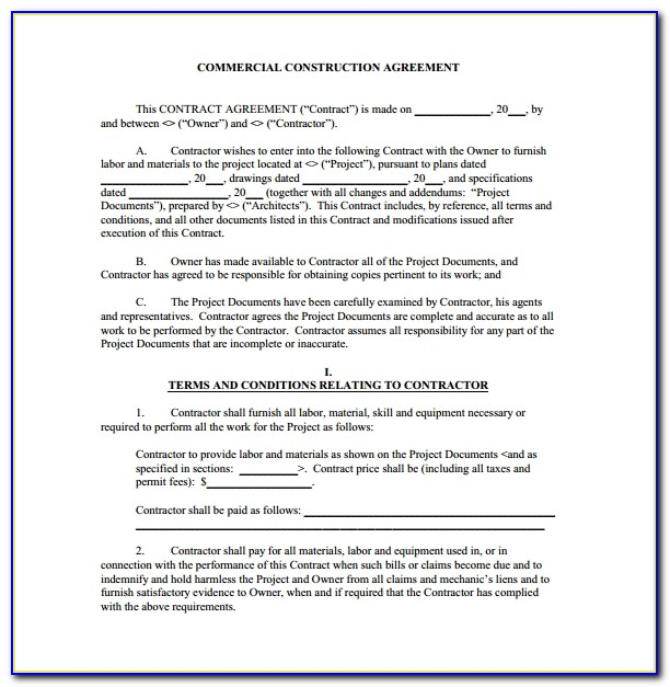 Free Residential Construction Contract Template