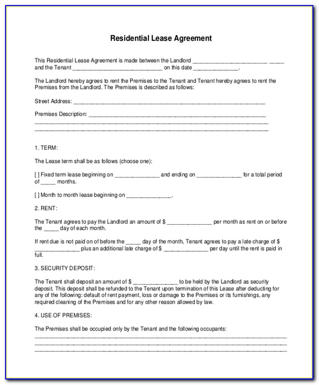 Free Residential Lease Agreement Forms To Print Pdf