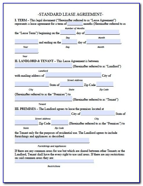 Free Residential Lease Agreement Template Pdf