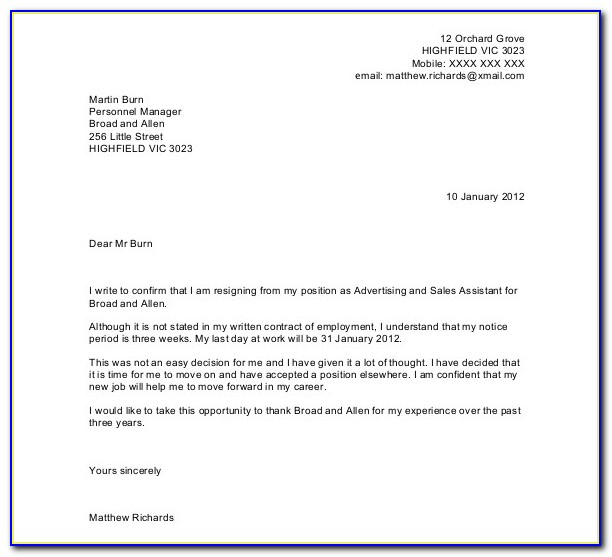 Free Resignation Letter Template Microsoft Word Download