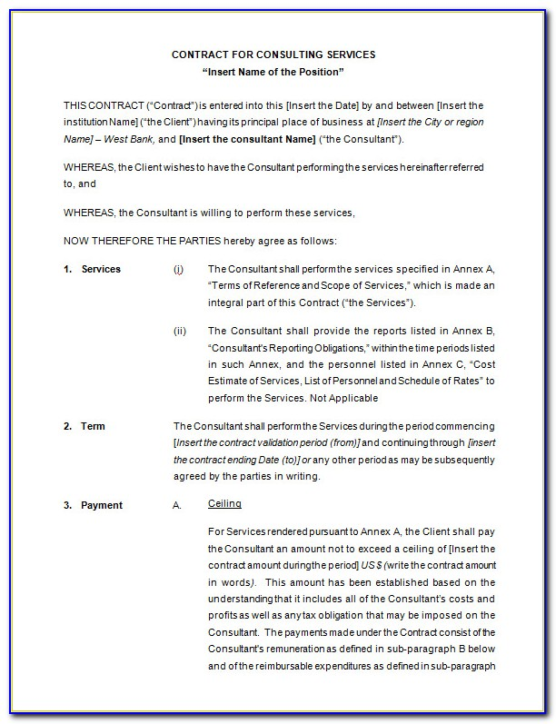 Free Restaurant Consulting Contract Template
