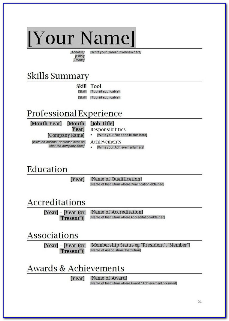 Free Download Resume Templates For Microsoft Word 2010 Resume Pertaining To Microsoft Office Resume Builder Free