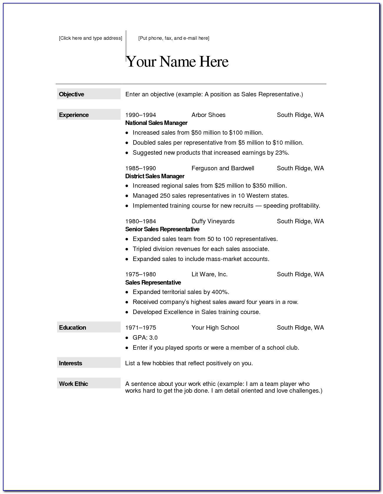 Free Resume Format Download In Word File