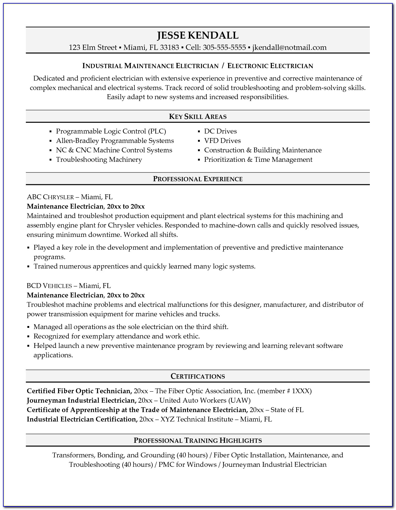 Residential Electrician Resume | Template Design Within Electrician Resume Template Free