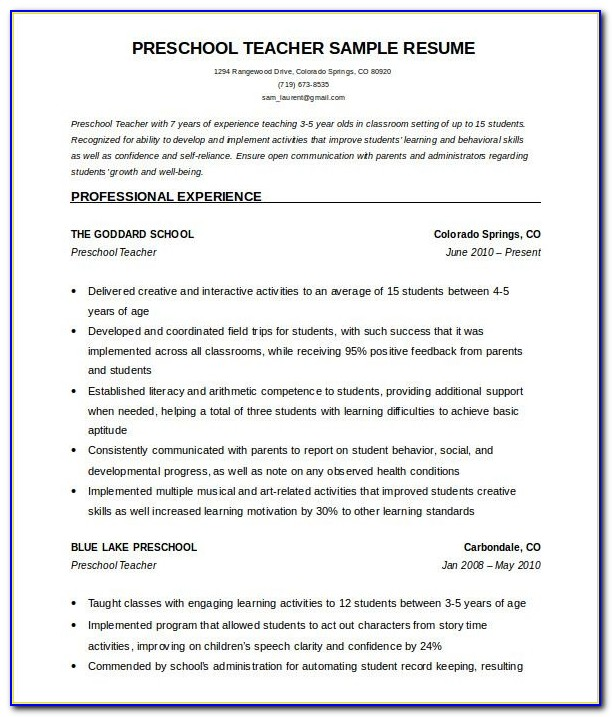 51+ Teacher Resume Templates – Free Sample, Example Format With Regard To Teacher Resume Templates Microsoft Word 2007