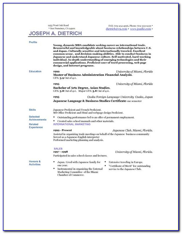 Free Resume Templates Download Word