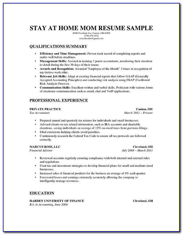 Free Resume Templates For Stay At Home Moms