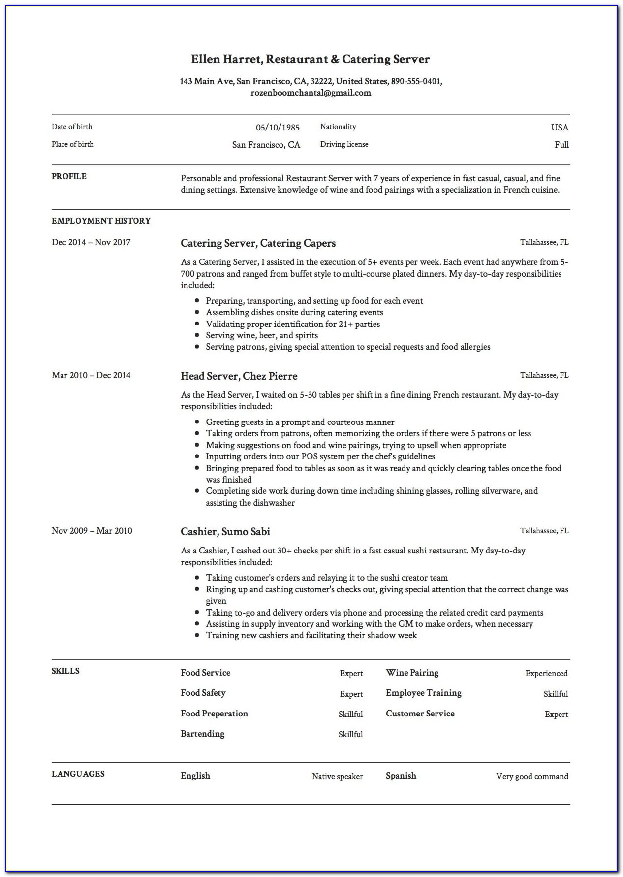 Free Resume Templates Restaurant Server