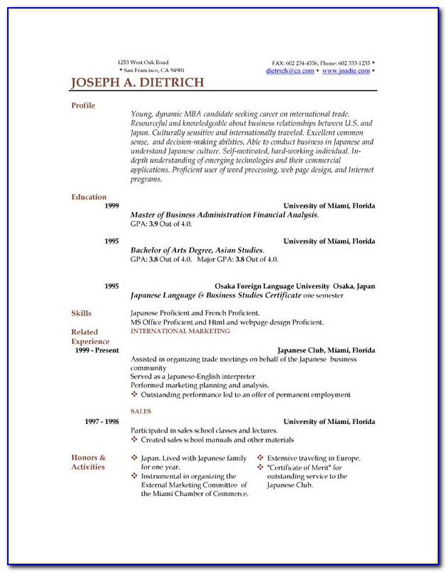 Free Resume Templates To Download In Word