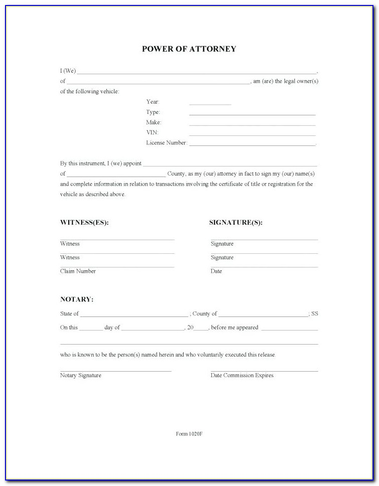 Free Revocation Of Power Of Attorney Forms