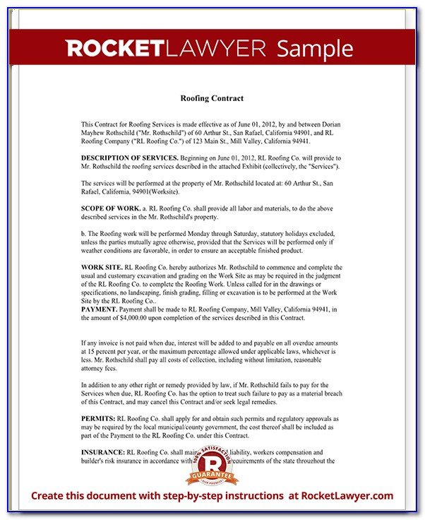 Free Roofing Contract Sample Form
