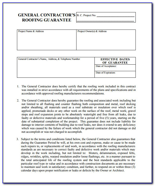Free Roofing Proposal Forms Pdf