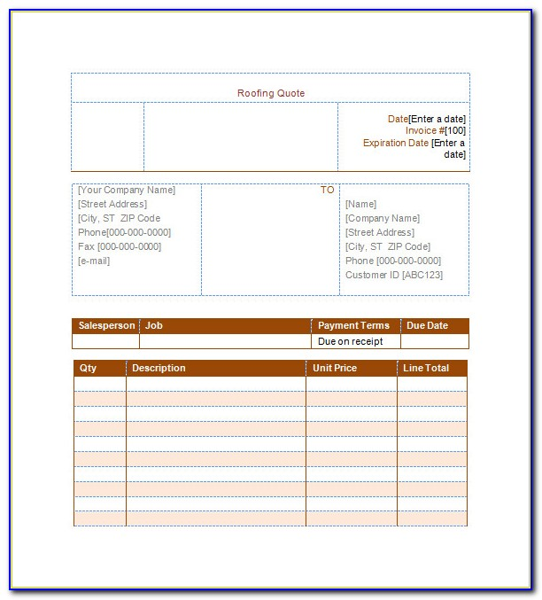Free Roofing Quote Template