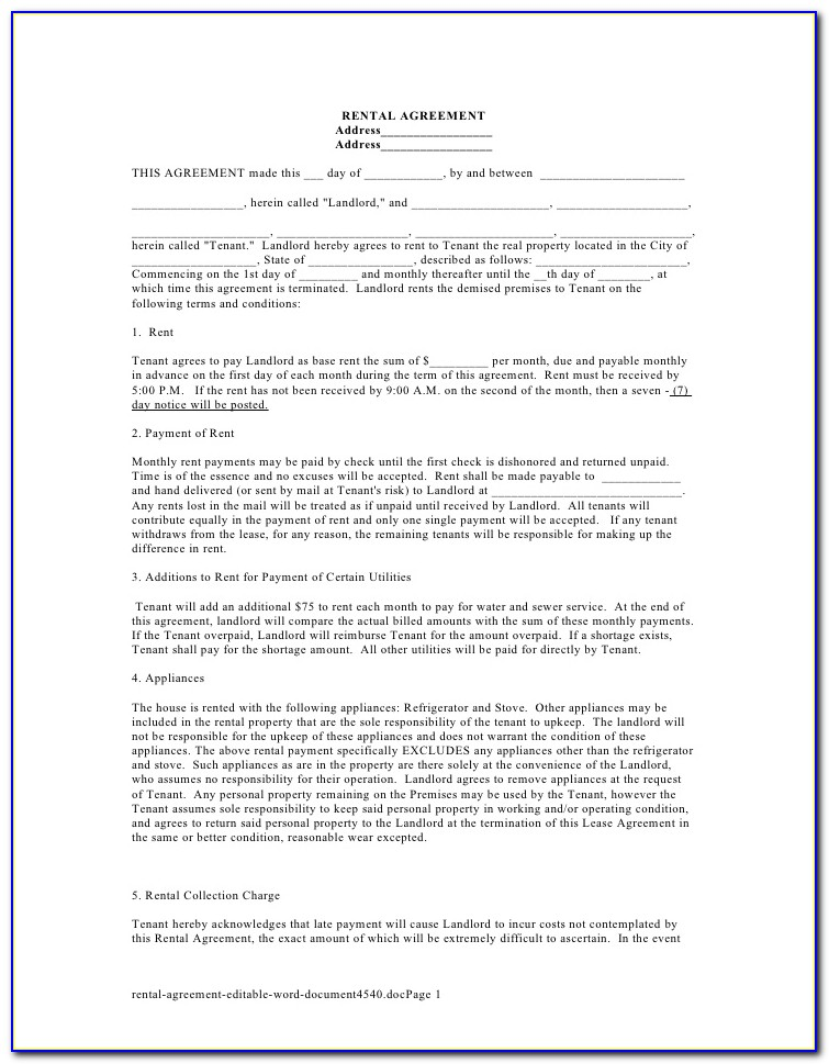 Free Room Rental Agreement Form Uk