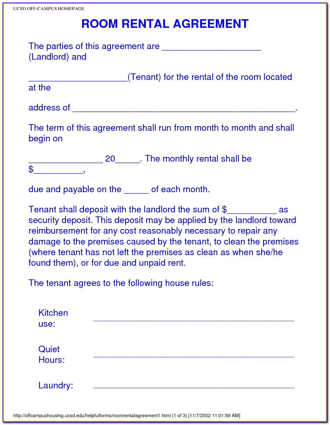Free Room Rental Agreement Template Uk
