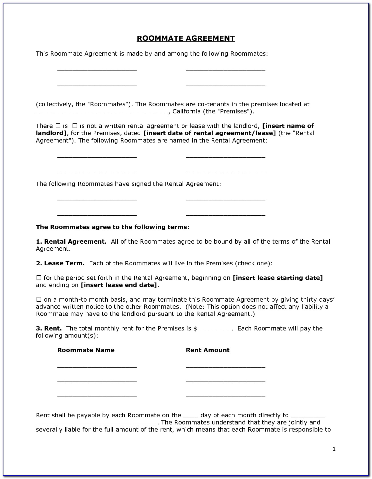Free Room Rental Agreement Template Word Doc