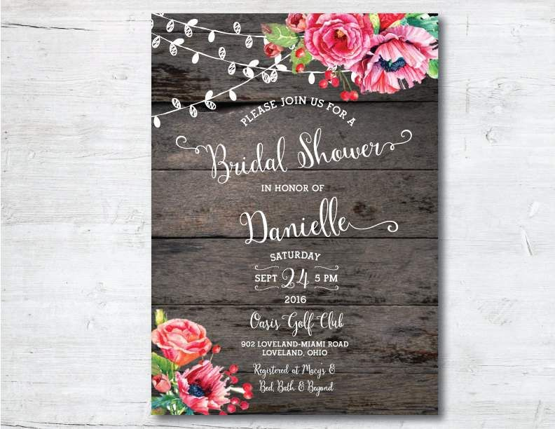 Free Rustic Wedding Shower Invitation Templates