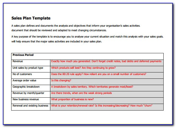 Free Sales Action Plan Template