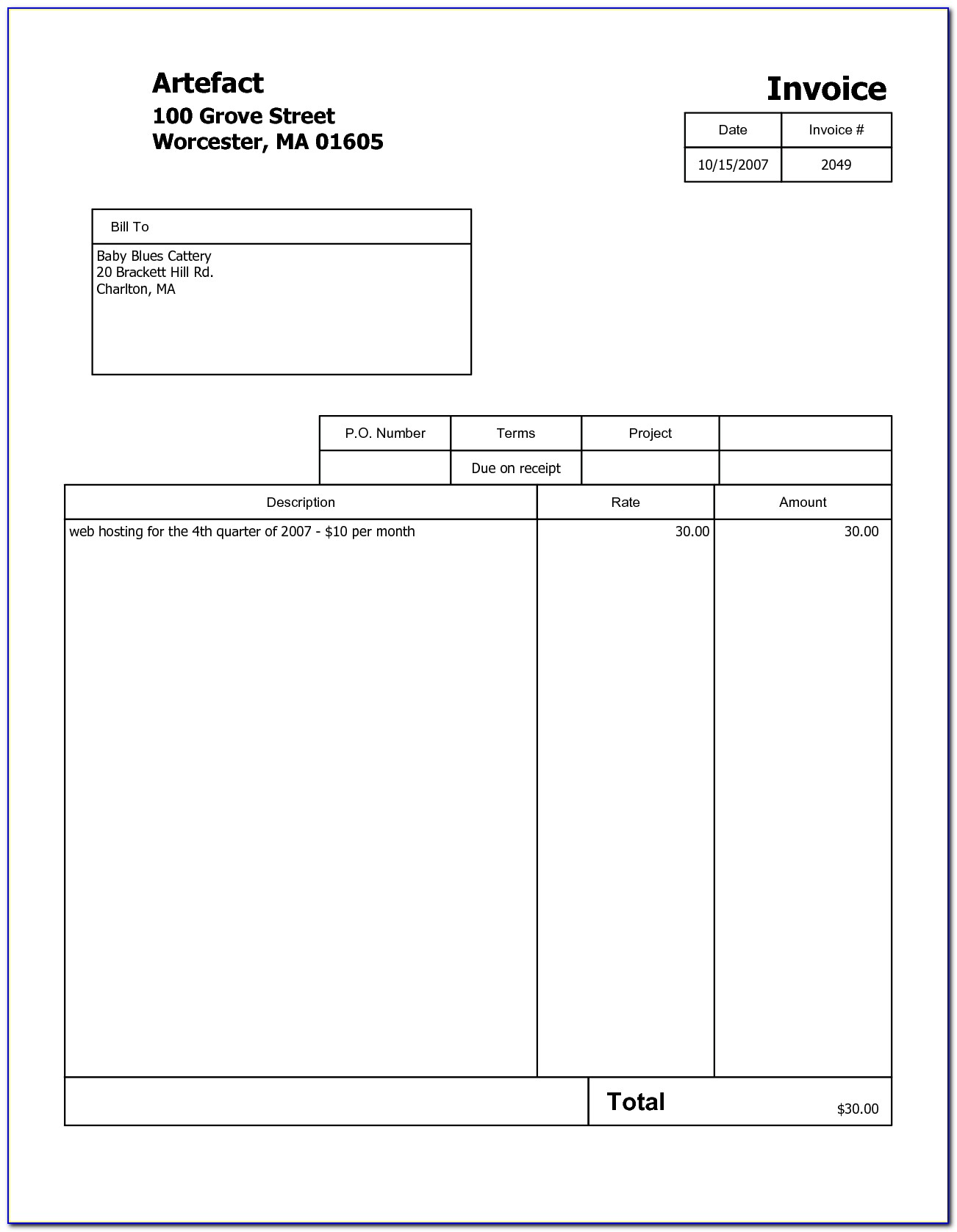 Free Sample Invoices Online