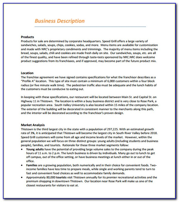 Free Sample Restaurant Business Plan Template
