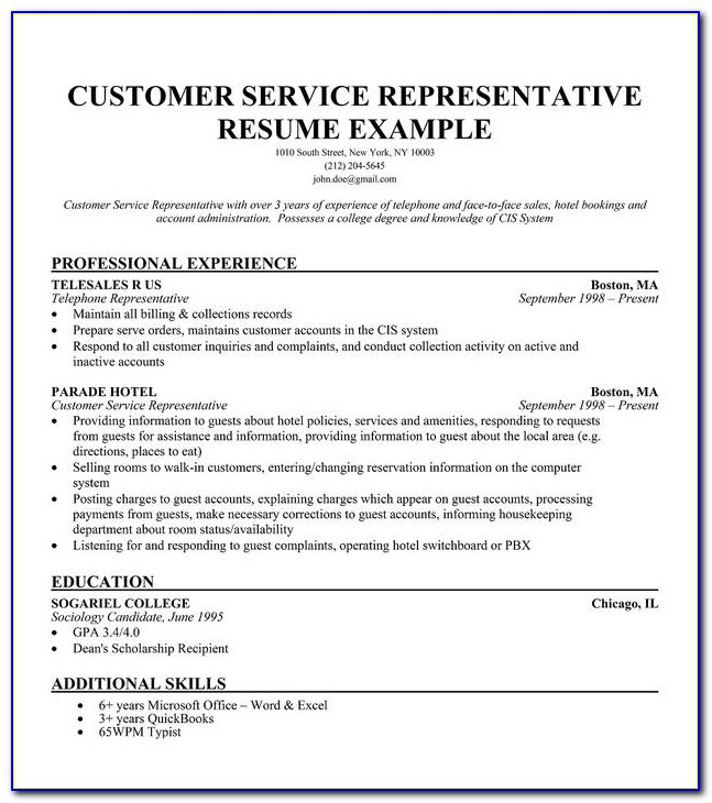 Free Sample Resume For Customer Service Representative
