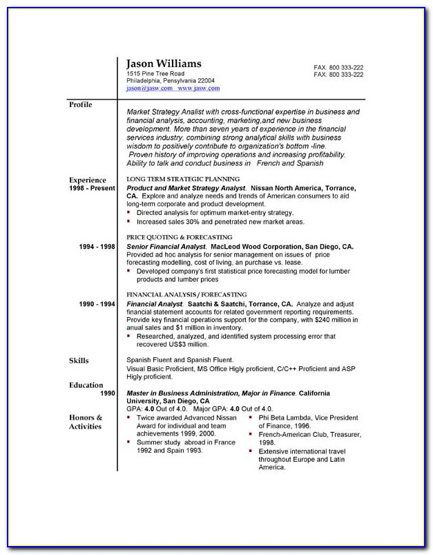 Free Sample Resume Format For Experienced