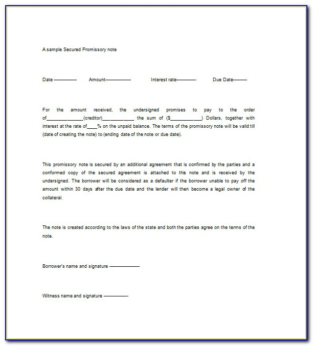 Free Secured Promissory Note Template Word