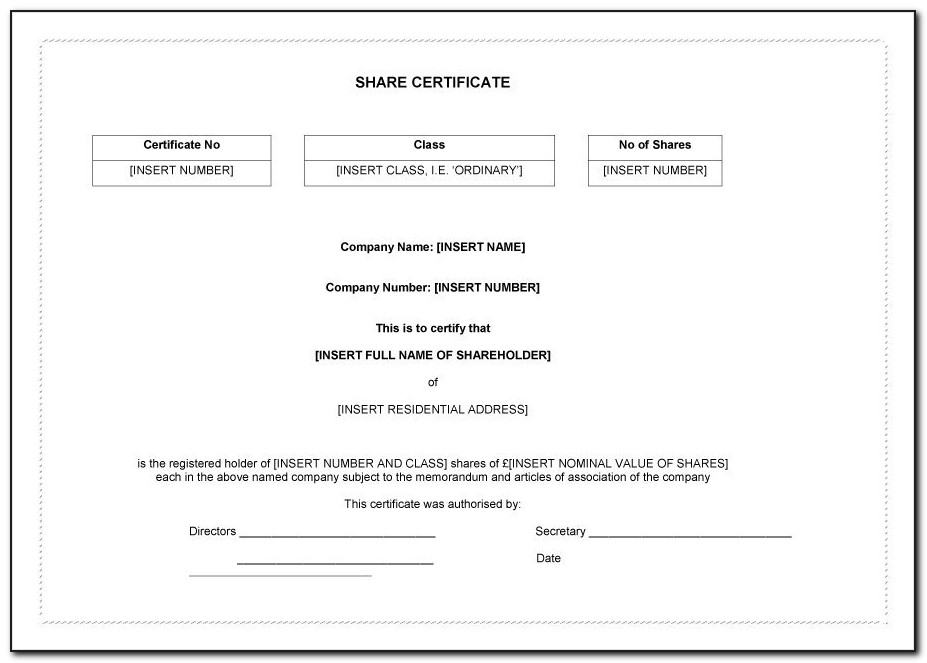 Free Share Certificate Template Bc