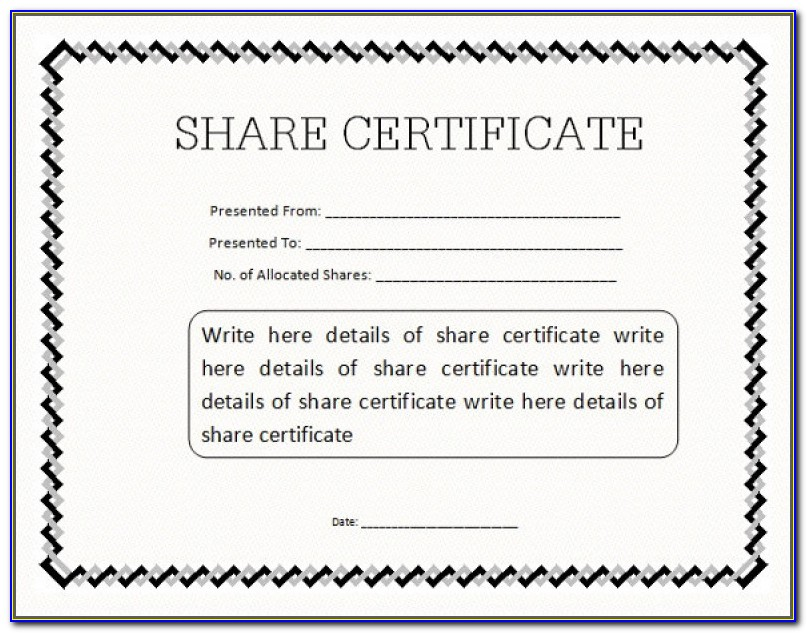 Sample Share Certificate Template Sample As Prepossessing Ideas Stock Certificate Template ? 21 Free Word Pdf