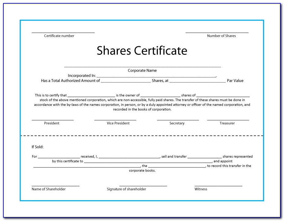 Free Share Certificate Template Word South Africa