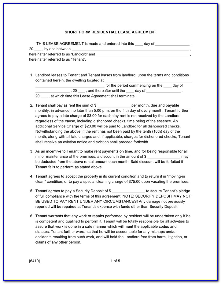Free Short Form Commercial Lease Agreement