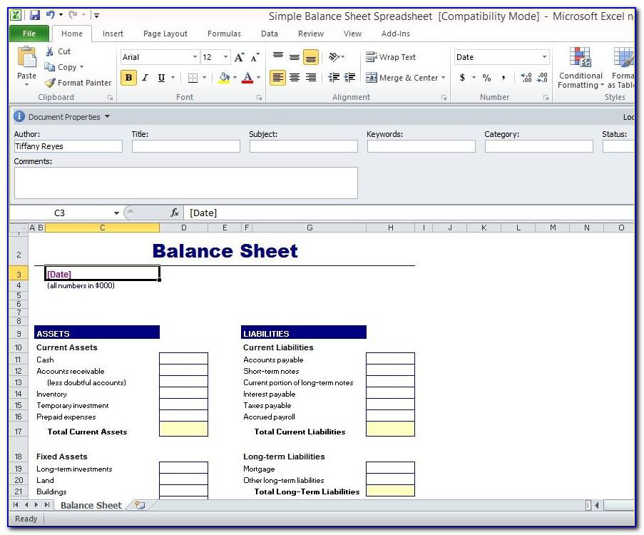 Free Simple Balance Sheet Template Excel