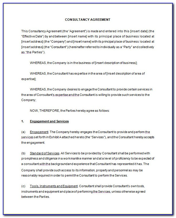 Free Simple Consulting Contract Template
