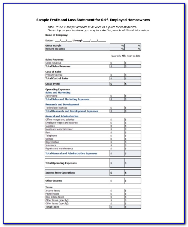 Free Simple Profit And Loss Template For Self Employed