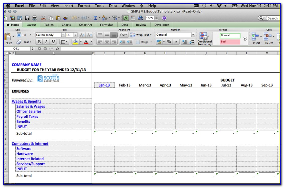 Free Small Business Budget Spreadsheet Template
