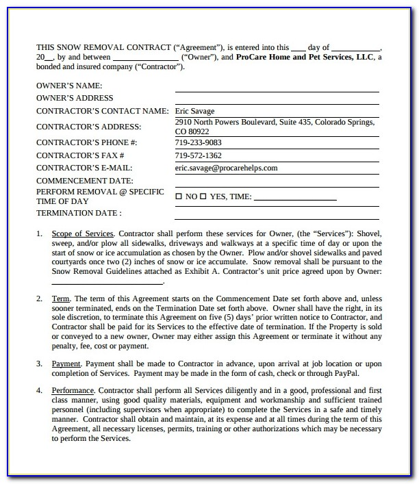 Free Snow Removal Contract Templates