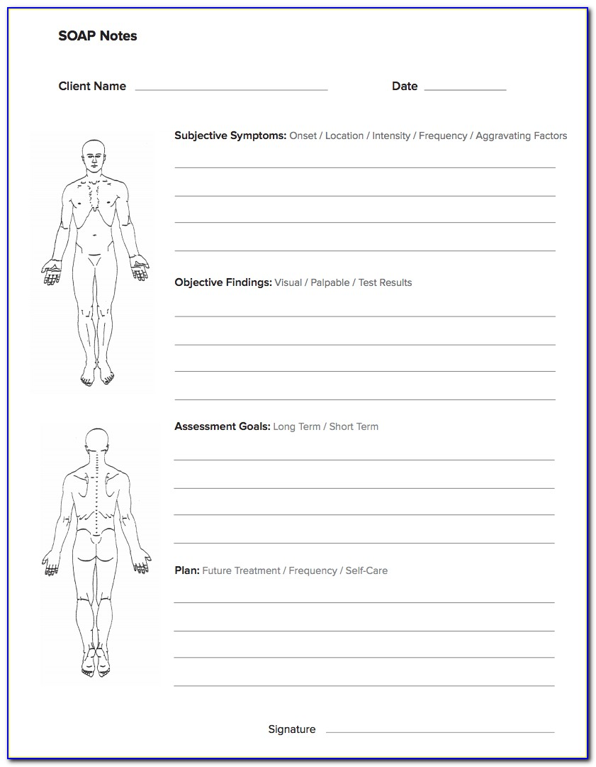 Free Soap Note Template For Massage Therapy