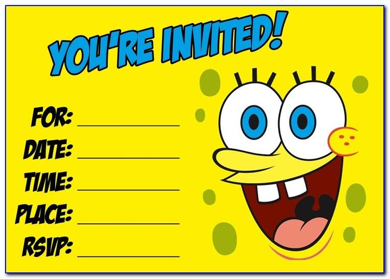 Free Spongebob Party Invitation Templates