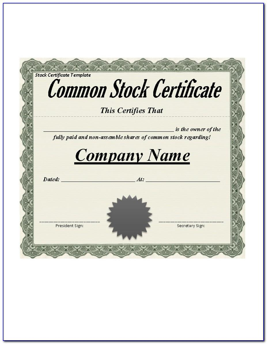 Free Stock Certificate Template Word