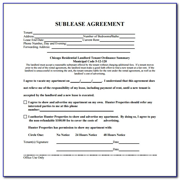 Free Sublease Agreement Template Word Uk