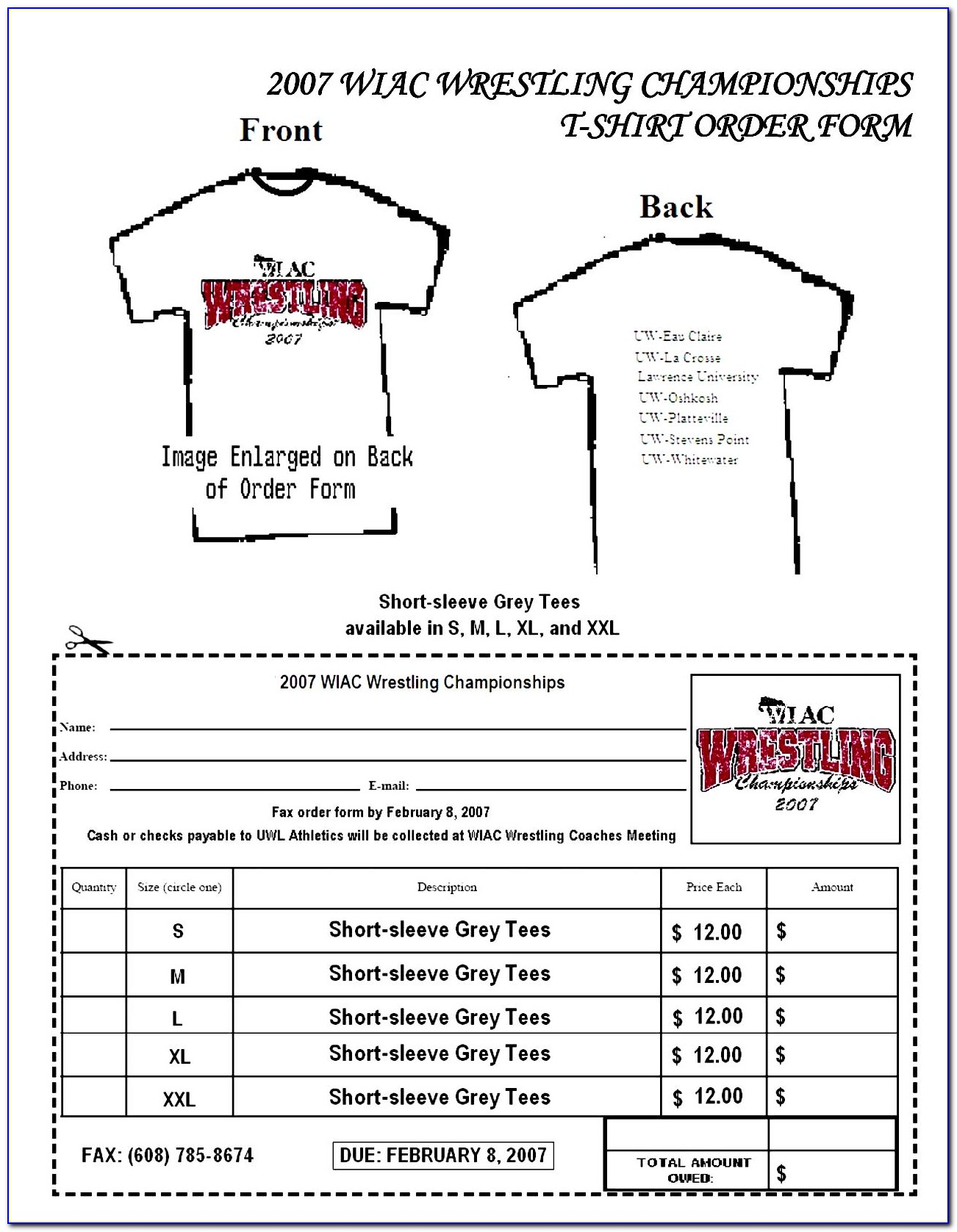 Free T Shirt Order Form Template Word