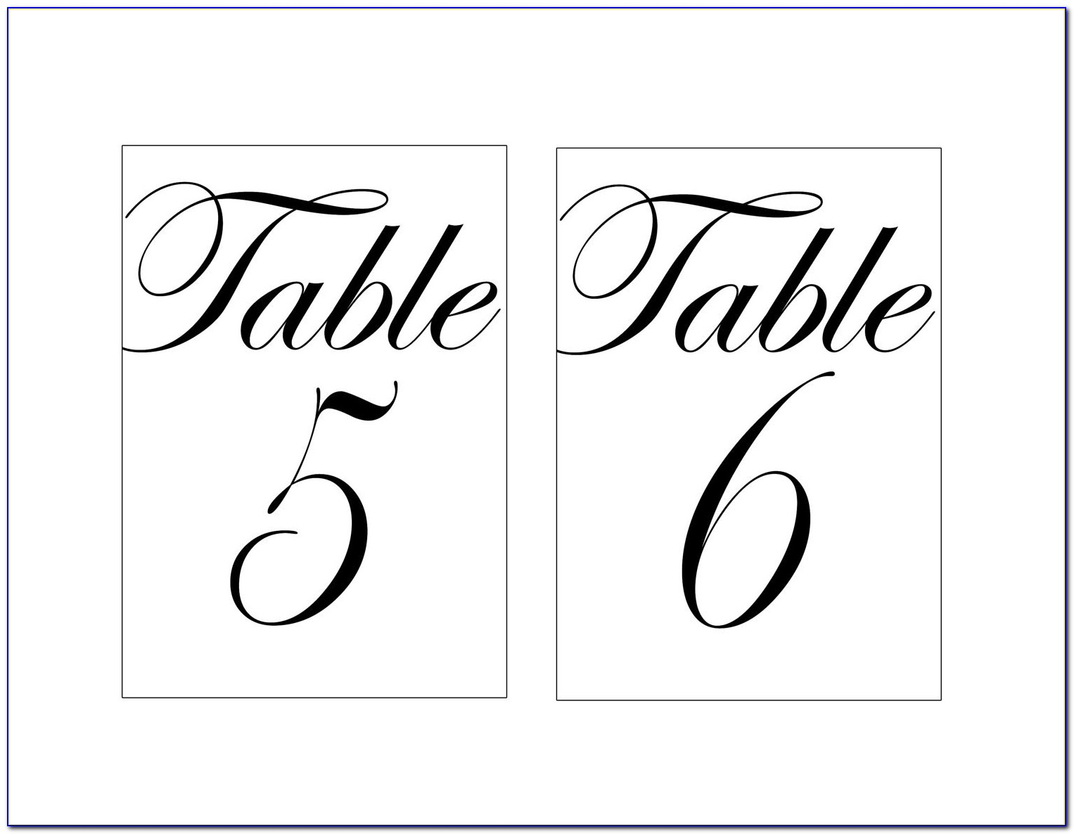 Free Table Number Template Word