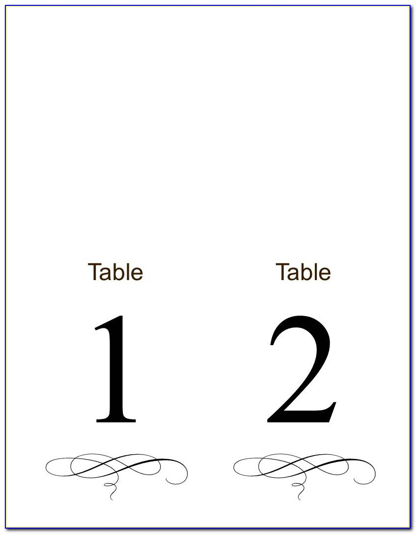 Free Table Number Templates 1 30