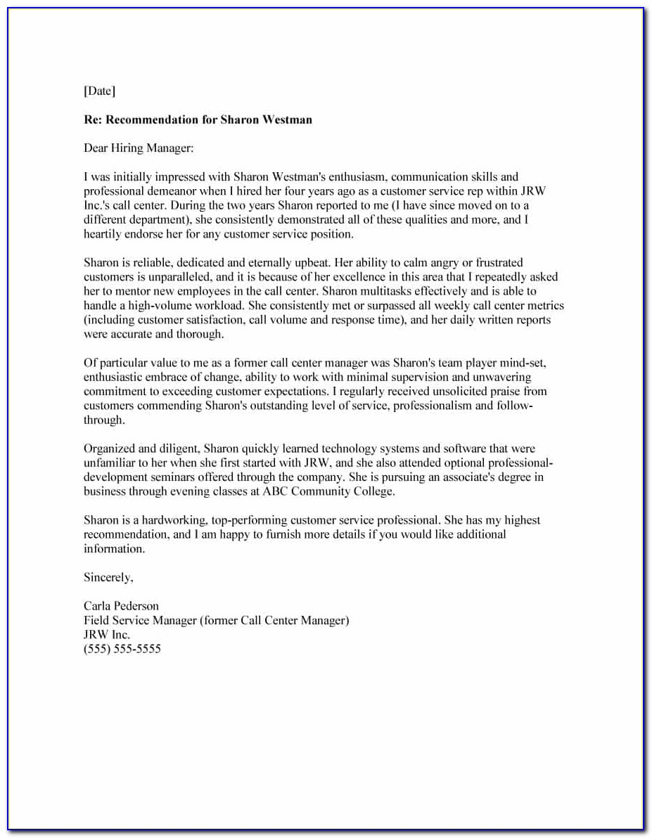 Free Template For Recommendation Letter