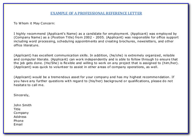 Free Template For Reference Letter