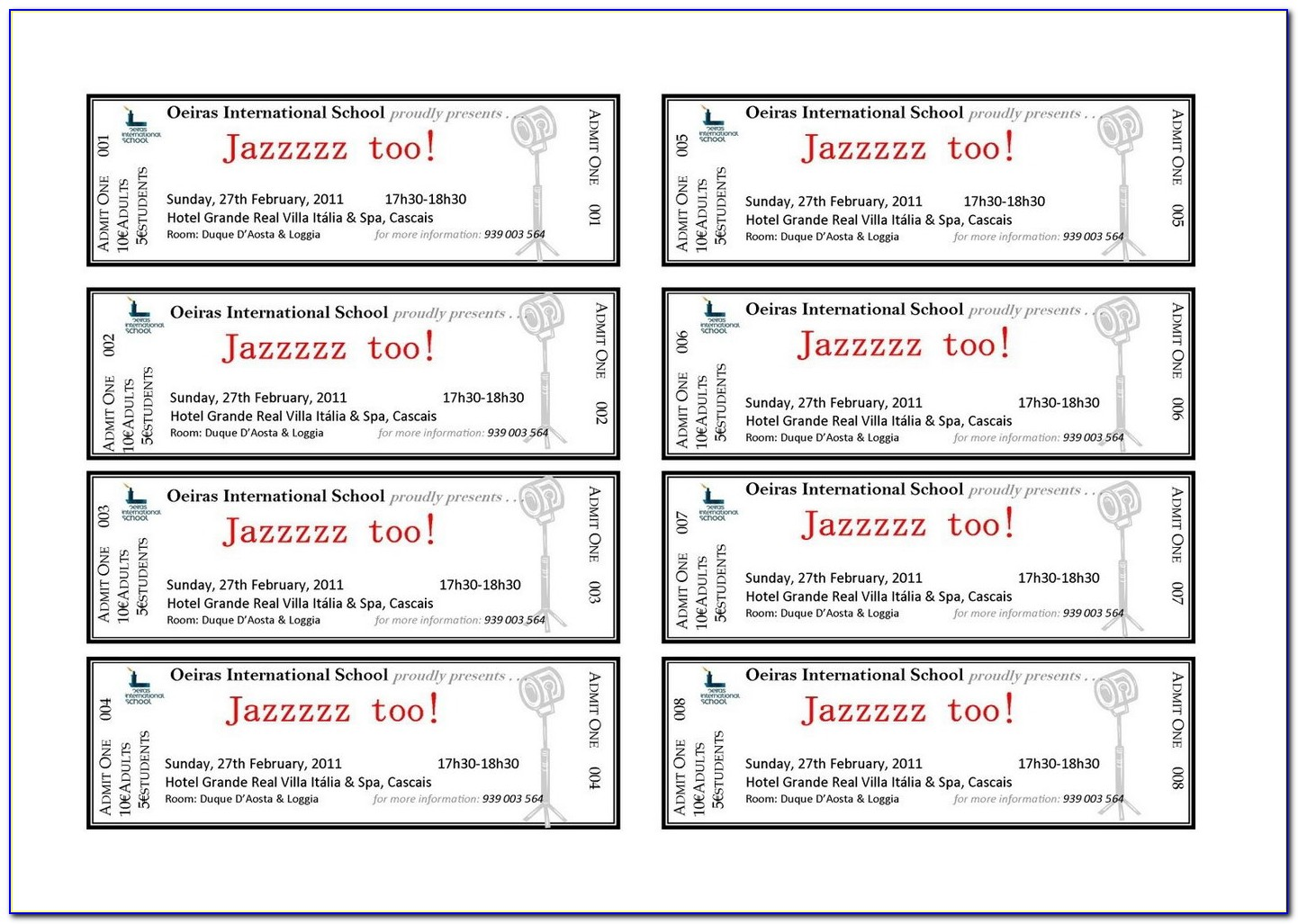 Free Templates For Raffle Tickets 8 Per Page