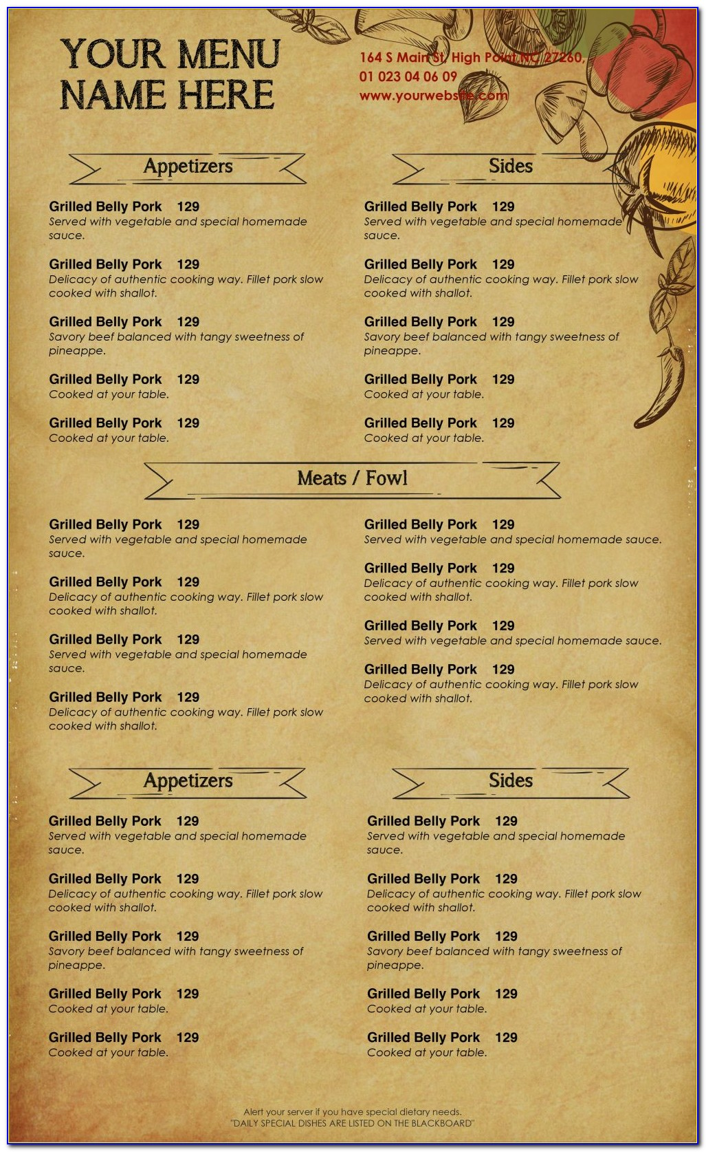 Free Templates For Restaurant Menu